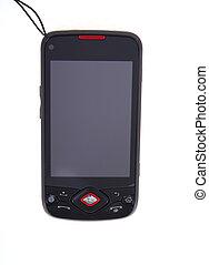 mobil, avskärma, isolerat, ringa, toucha, vit