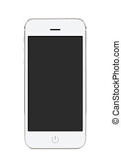 mobil, avskärma, nymodig, ringa, tom, vit, smart