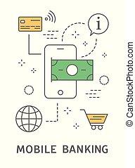 mobil, bankrörelse, illustration.