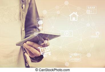 mobil, bankrörelse, internet, nätverk