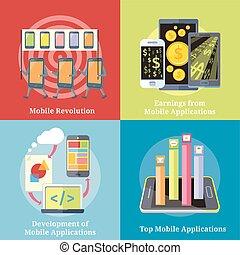 mobil, begrepp, applikationer