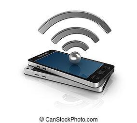 mobil, begrepp, nätverk