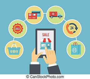 mobil, beställa, betalning