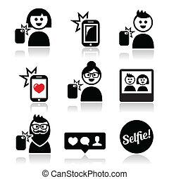 mobil, boeiend, vrouw, man, selfie