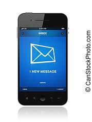 mobil, färsk, meddelande, ringa