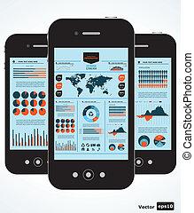 mobil, grafer, infographic., sätta