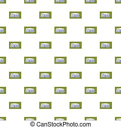 Mobil home pattern seamless repeat in cartoon style vector...