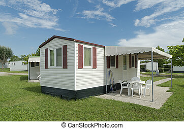mobil home - typical mobil home on a campsite in italy