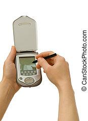 mobil, isolerat, ringa, avskärma, tom, vit