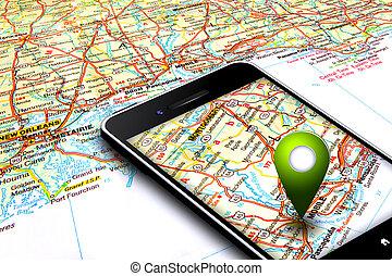 mobil, karta, gps, bakgrund, ringa