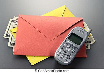 mobil, kuvert, dollars, ringa