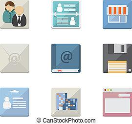 mobil, lägenhet, applikationer, ikonen, nät