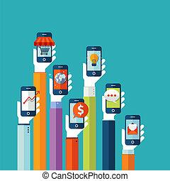 mobil, lägenhet, design, begrepp, apps