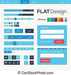 mobil, lägenhet, elementara, design, nät