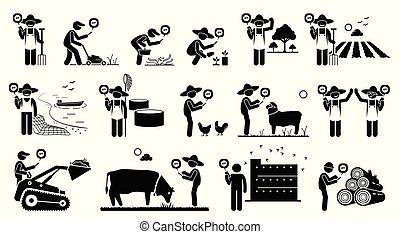 mobil, lantbruk, arbetare, industri, deras, tel., användande, teknologi, app, smart