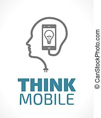 mobil, logo, -, tänka