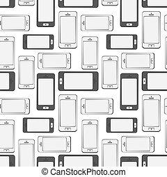 mobil, mönster, seamless, bakgrund, smartphone, enheter