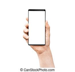 mobil, man`s, screen., hand, ringa, holdingen, tom, smart