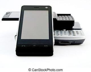 mobil, mobiltelefon, avskärma, apps, en