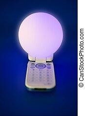 mobil, mobiltelefon, glödande, glob, lätt