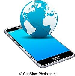 mobil, mobiltelefon, värld, smart, 3