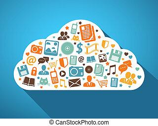 mobil, multimedia, apps, moln
