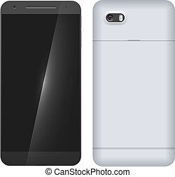 mobil, nymodig, baksida, isolerat, ringa, bakgrund, främre del, vit