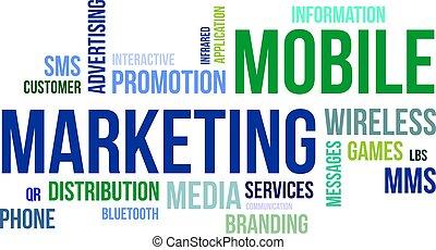 mobil, ord, -, moln, marknadsföra