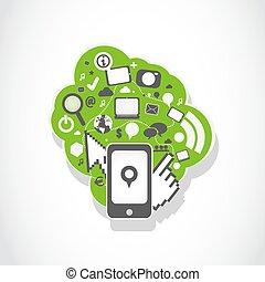 mobil phone social media icons