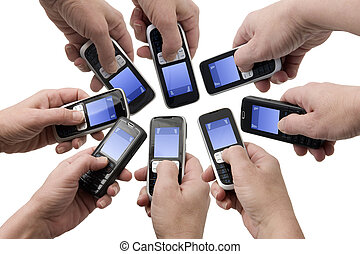 Mobil Phones - Empty text boxes - Hands holding mobile...