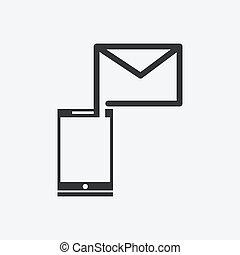 mobil, -, sända, ringa, brev, ikon