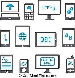 mobil, sätta, datorer, enheter, ikonen