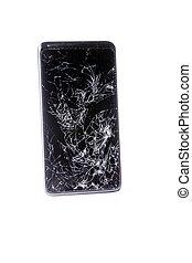 mobil, smartphone, isolerat, white., bruten, avskärma