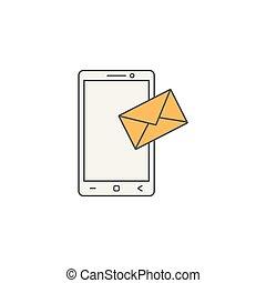 mobil, sms, underteckna, ikon, posta, fodra, meddelande