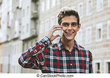 mobil, stad, man, ung, ringa