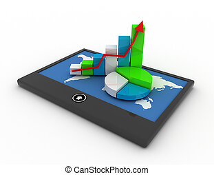 mobil, statistik, begrepp, finans