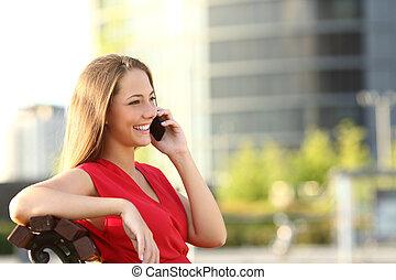 mobil, talande, entreprenör, ringa