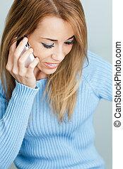mobil, talande, kvinna, ringa