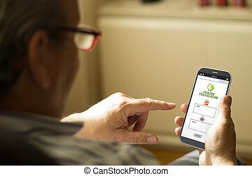 mobil, text, översätta, ringa, mogna, stående, man
