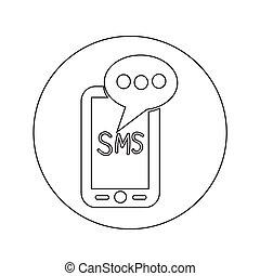 mobil, text, sms, illustration, design, posta, meddelande, ikon