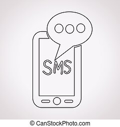 mobil, text, sms, posta, meddelande, ikon