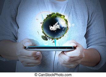 mobil, toucha, ringa, avskärma, hand