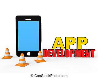 mobil, utveckling, app, begrepp, 3
