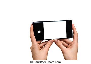 mobil, vit, holdingen, avskärma, räcker, isolerat, ringa, bakgrund., kvinnlig