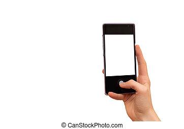 mobil, vit, räcka lämna, avskärma, isolerat, ringa, bakgrund., kvinnlig
