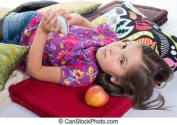 mobile, écolière, mensonge, téléphone, plancher