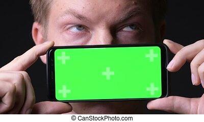 mobile, écran, chroma, jeune, téléphone, clef verte, utilisation, homme, beau
