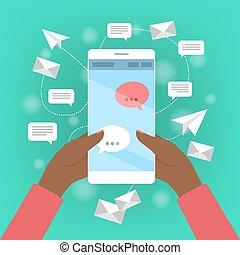 mobile, écran, enveloppe, main, téléphone, tenue
