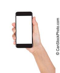 mobile, écran, isolé, main, téléphone, tenue, vide, wh, intelligent