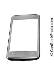 mobile, écran, isolé, téléphone, fond, vide, blanc